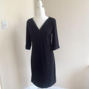 Laundry by Shelli Segal Black Split Neck Tee Dress